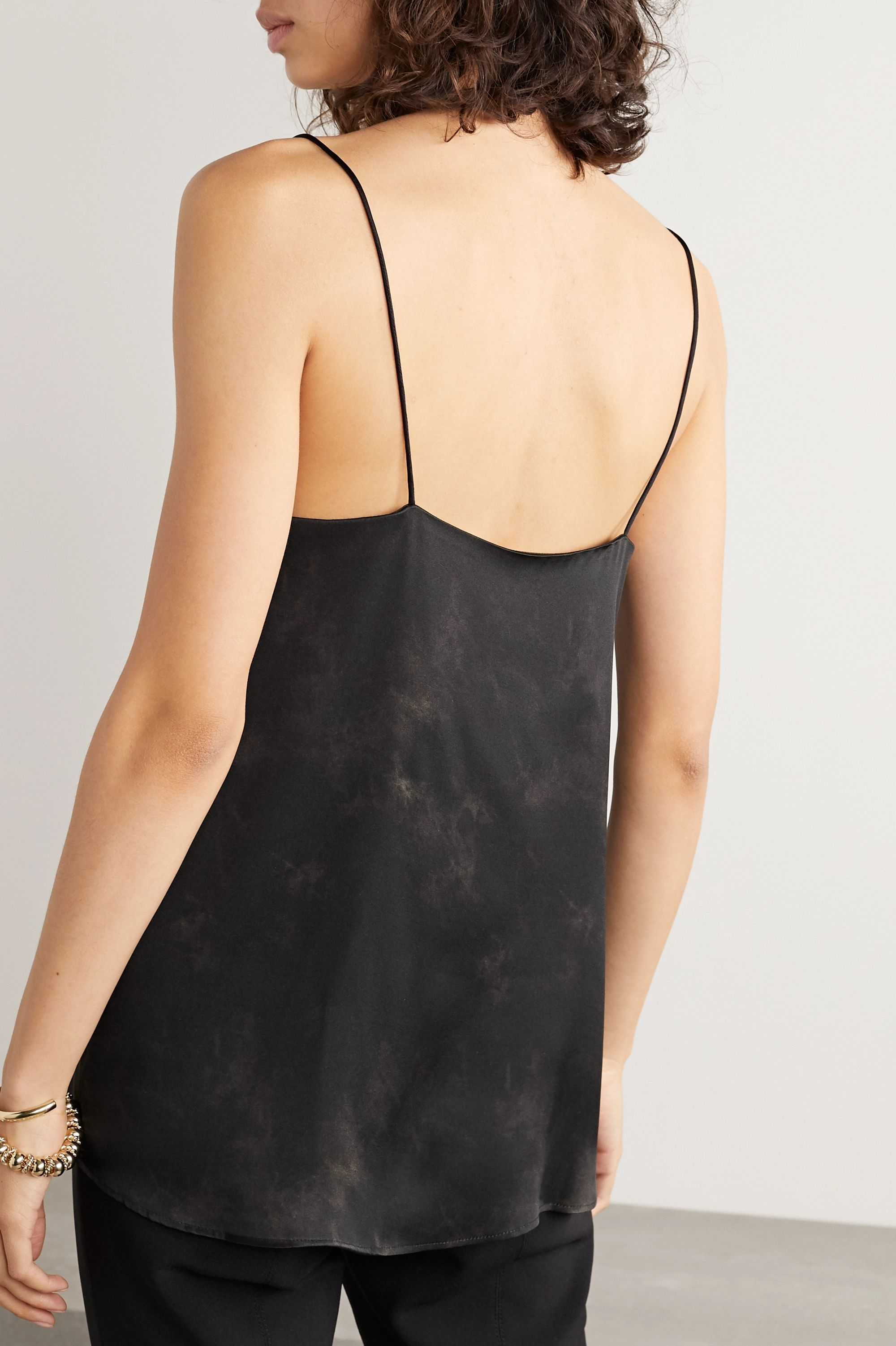 Anine Bing Belle lace-trimmed tie-dyed silk-satin camisole