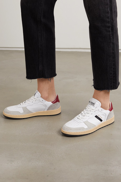 80s Basketball perforated leather and suede sneakers