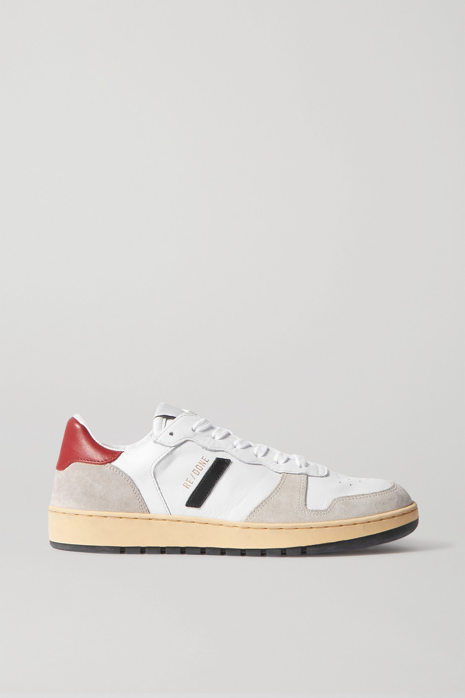 RE/DONE 80s Basketball perforated leather and suede sneakers