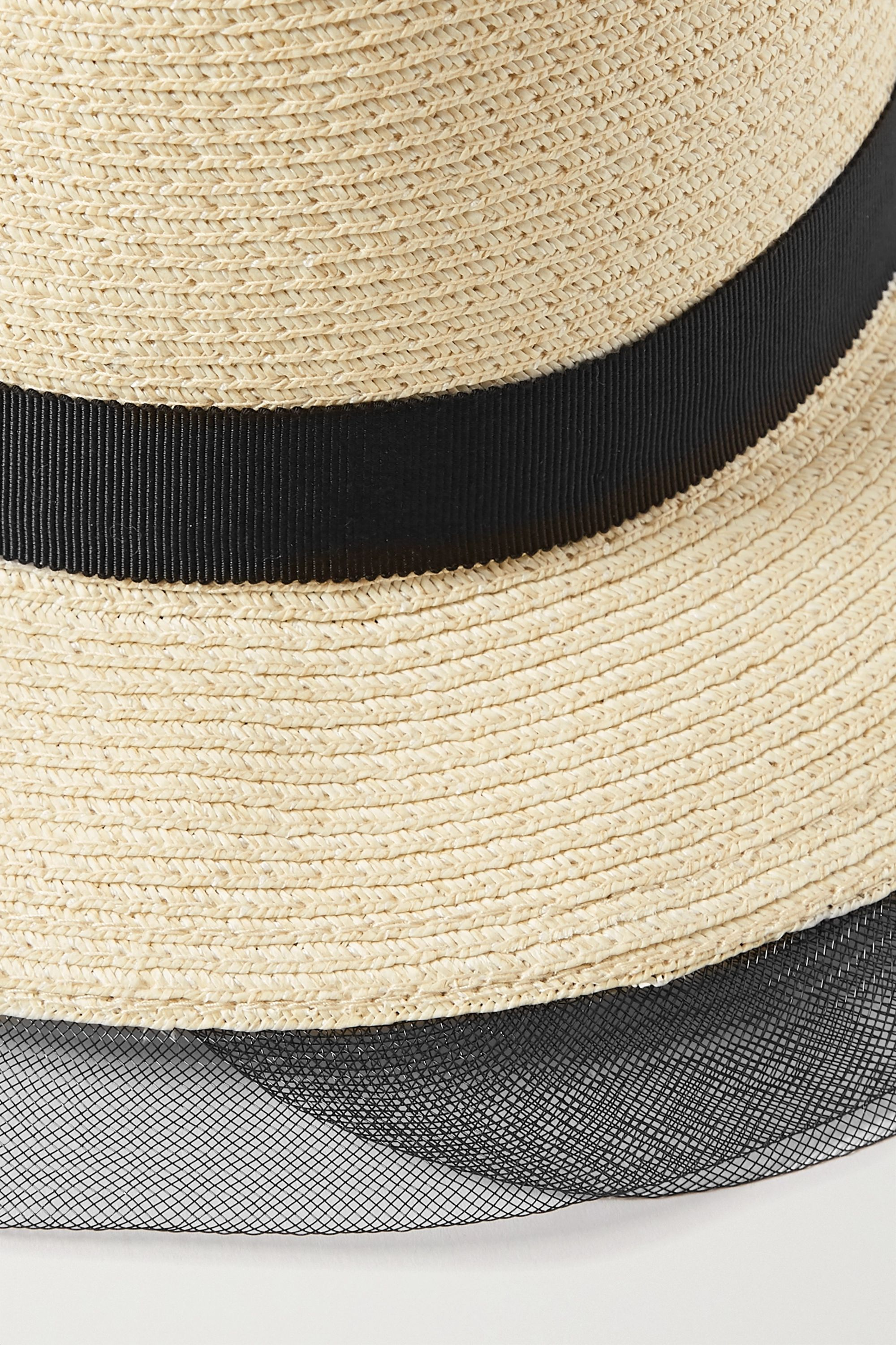 Eugenia Kim Courtney grosgrain and tulle-trimmed straw sunhat