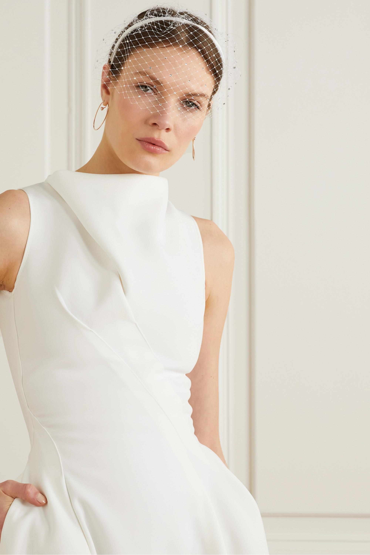 Eugenia Kim Halsey Swarovski crystal-embellished grosgrain and tulle veil headband