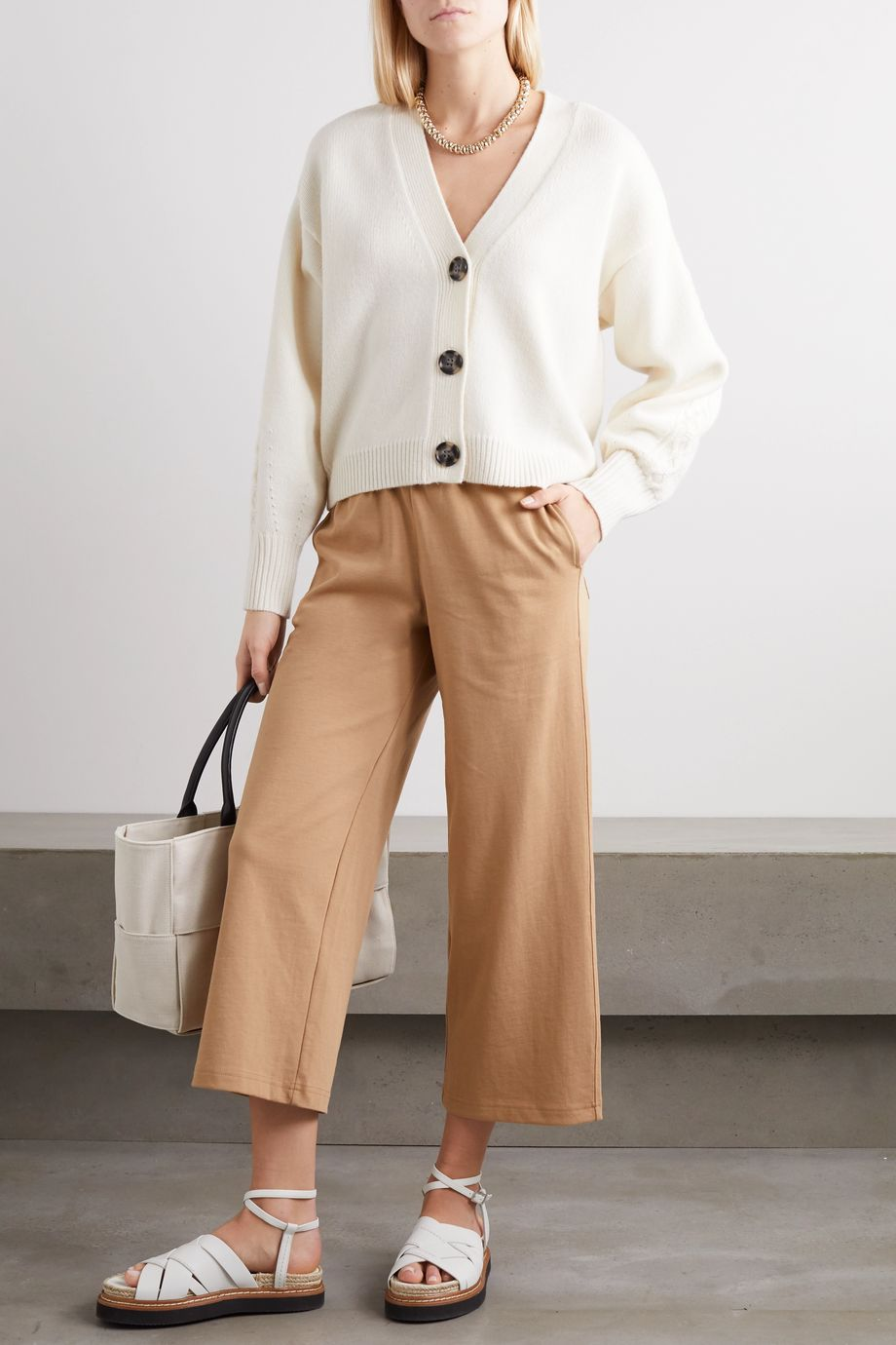 Vince Cropped cotton-jersey wide-leg pants