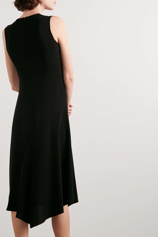 Vince Asymmetric paneled crepe and hammered-satin midi dress