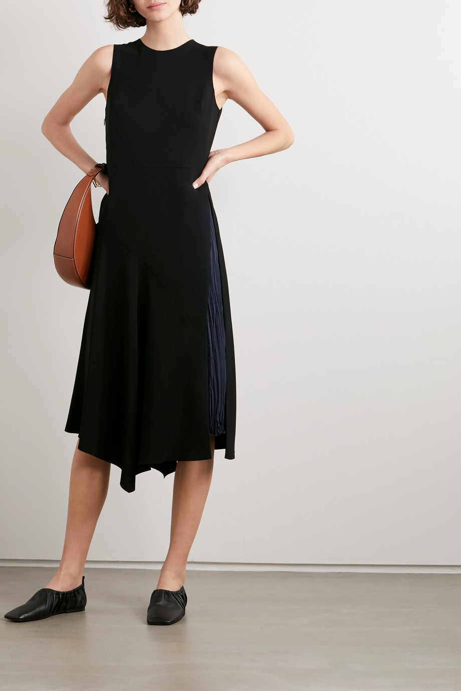 Vince Asymmetric paneled crepe and hammered-satin midi dress