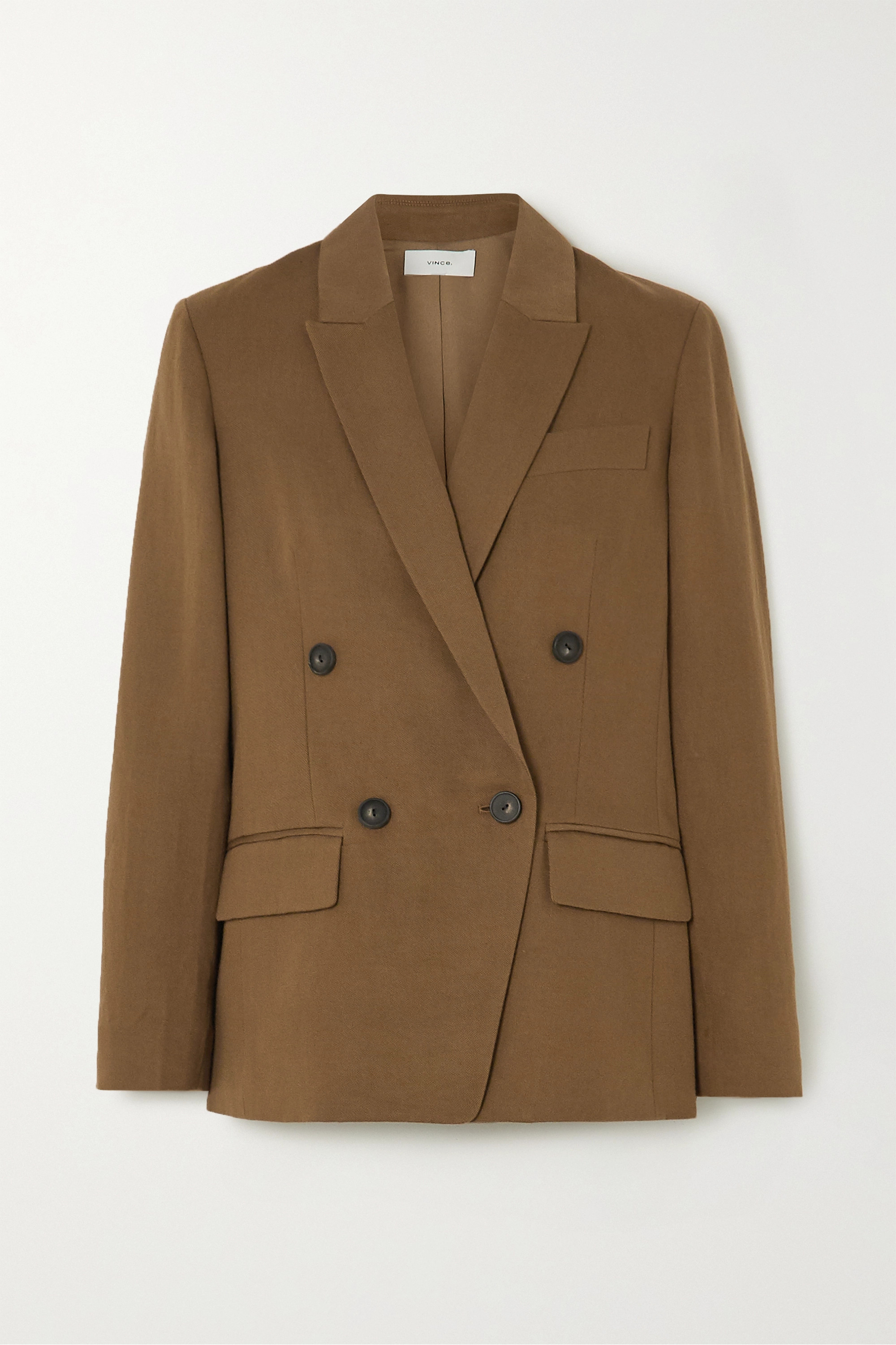 Vince Double-breasted linen-blend twill blazer