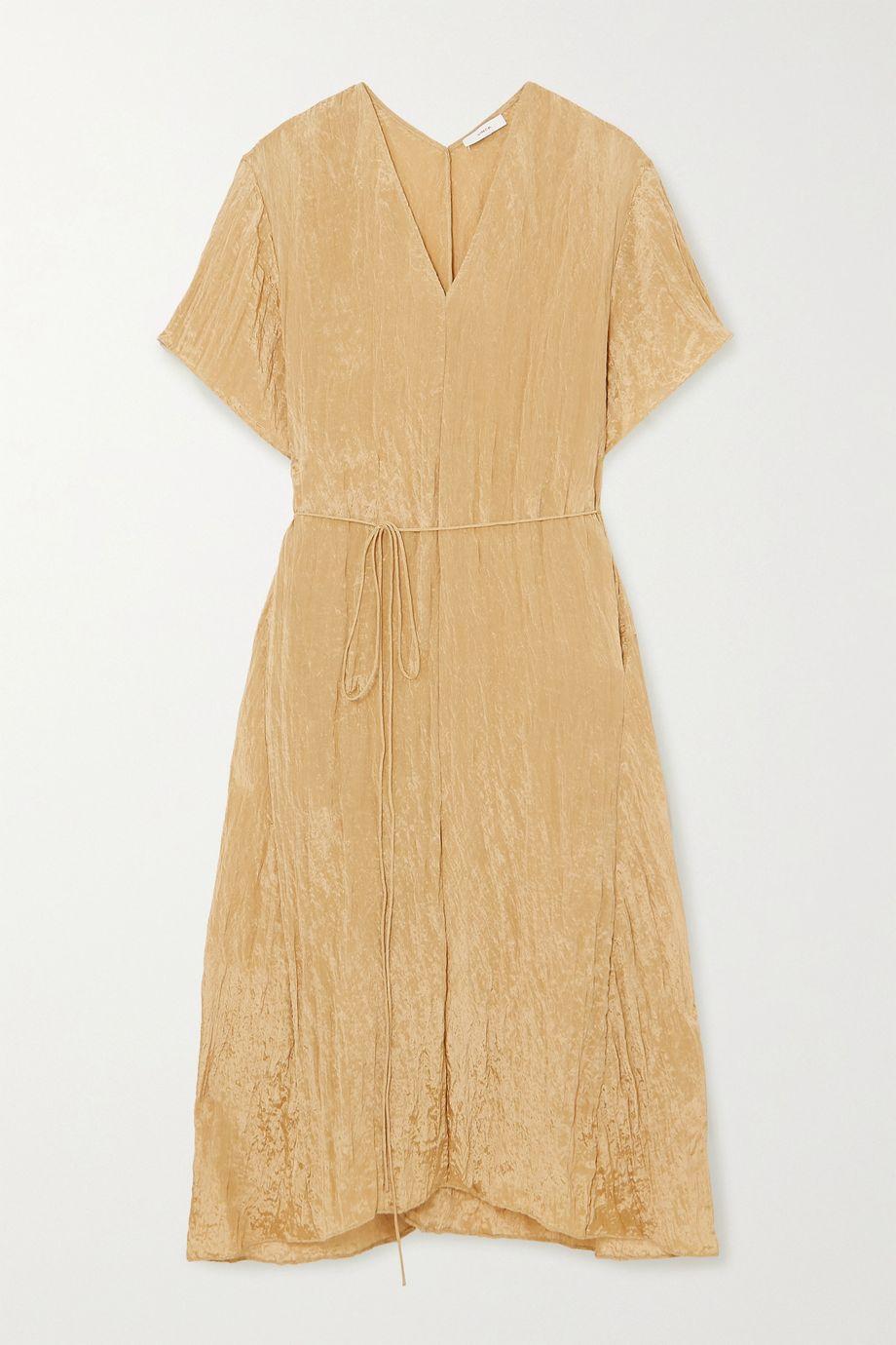 Vince Belted crinkled-satin midi dress