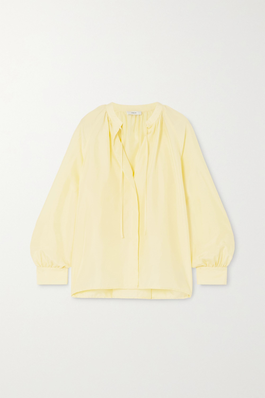 Vince Poet tie-detailed pleated silk blouse