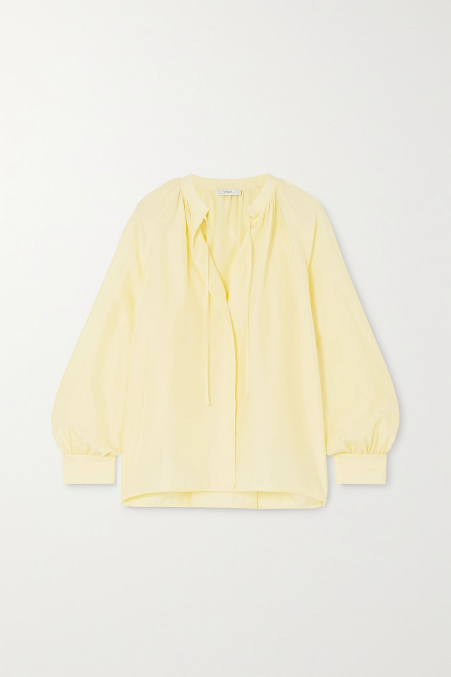 Vince Poet tie-detailed pleated silk blouse
