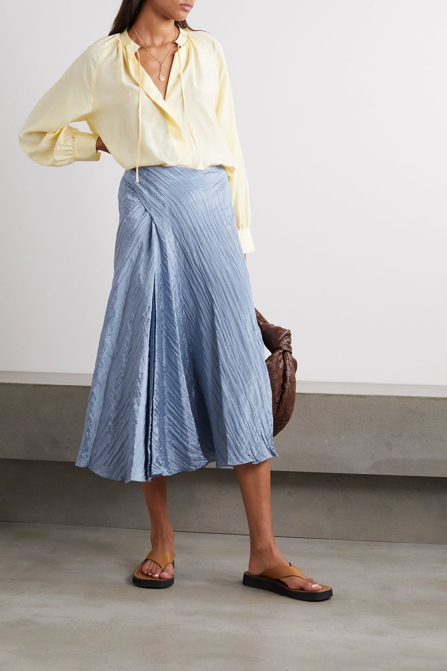 Vince Draped crinkled-satin midi skirt