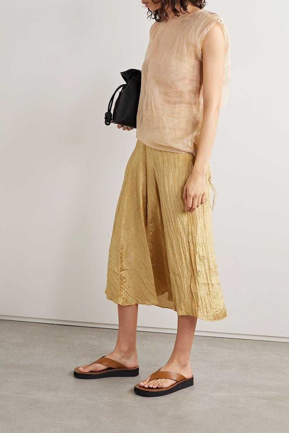 Vince Draped crinkled-satin midi skirt