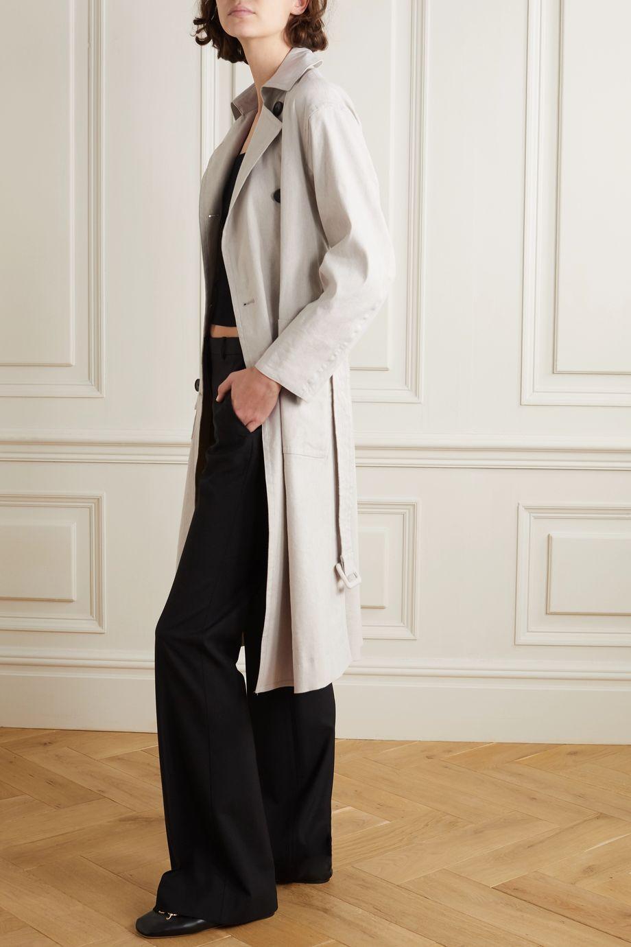 Vince Belted linen-blend trench coat