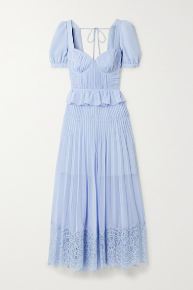 Self-Portrait - Corded Lace-trimmed Plisse-chiffon Midi Dress - Blue