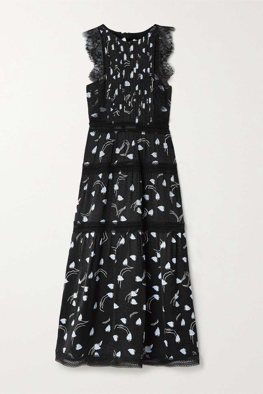 Self-Portrait Lace and crochet-trimmed tiered satin-jacquard midi dress