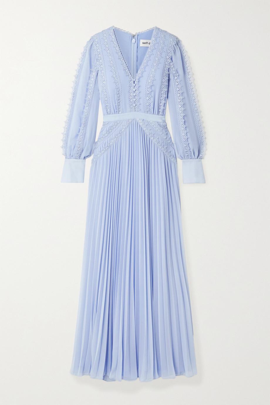 Self-Portrait   Grosgrain and corded lace-trimmed plissé-chiffon gown   NET-A-PORTER.COM