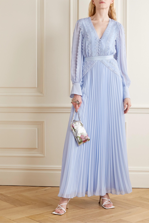 Self-Portrait Grosgrain and corded lace-trimmed plissé-chiffon gown