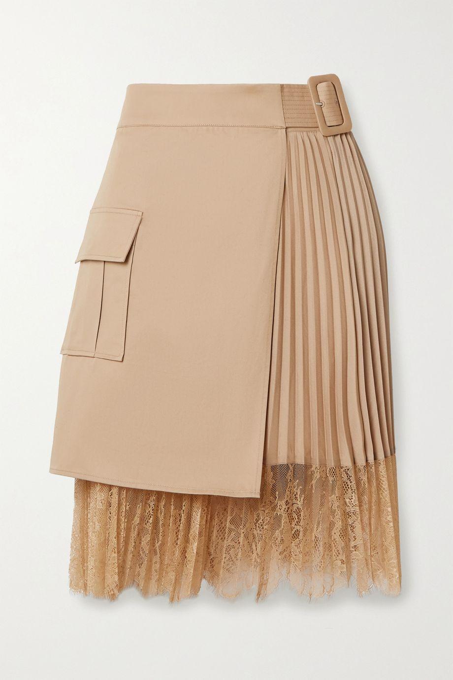 Self-Portrait Lace-paneled pleated crepe de chine and cotton-canvas wrap mini skirt