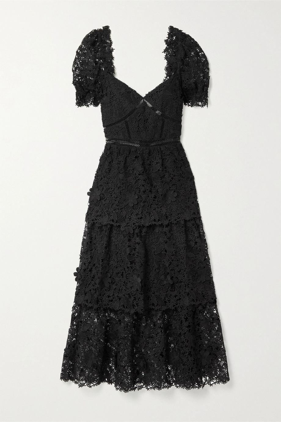 Self-Portrait Crochet-trimmed tiered guipure lace midi dress
