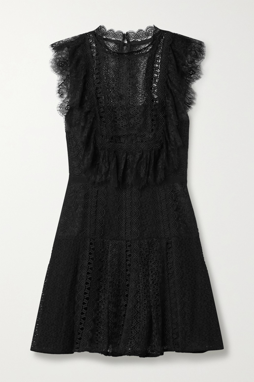 Self-Portrait Grosgrain-trimmed paneled lace mini dress