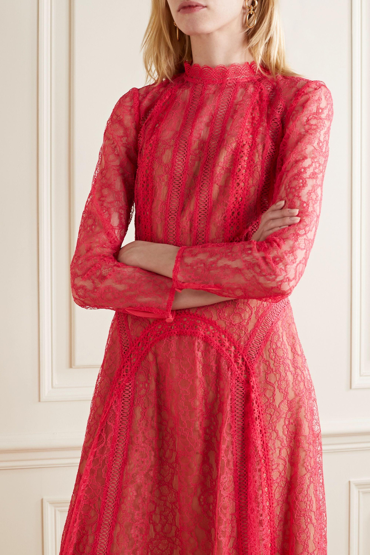Self-Portrait Crochet-trimmed paneled corded lace midi dress