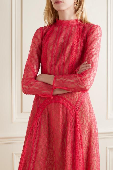 Crochet-trimmed paneled corded lace midi dress