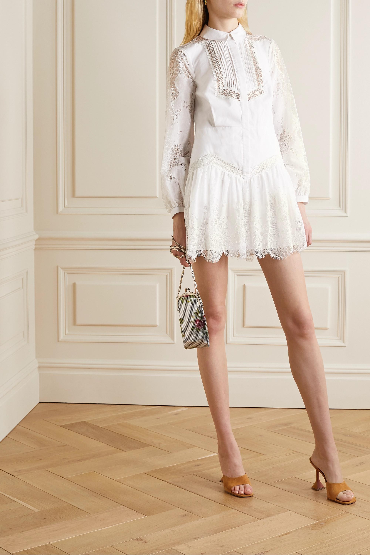 Self-Portrait Mini-robe-chemise en popeline de coton, dentelle et gaze