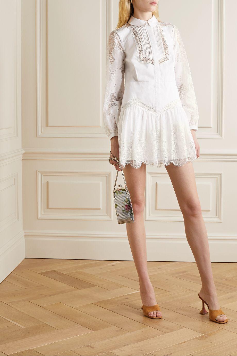 Self-Portrait Lace and gauze-trimmed cotton-poplin mini shirt dress