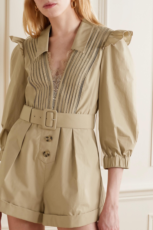 Self-Portrait Corded lace-trimmed cotton-poplin playsuit