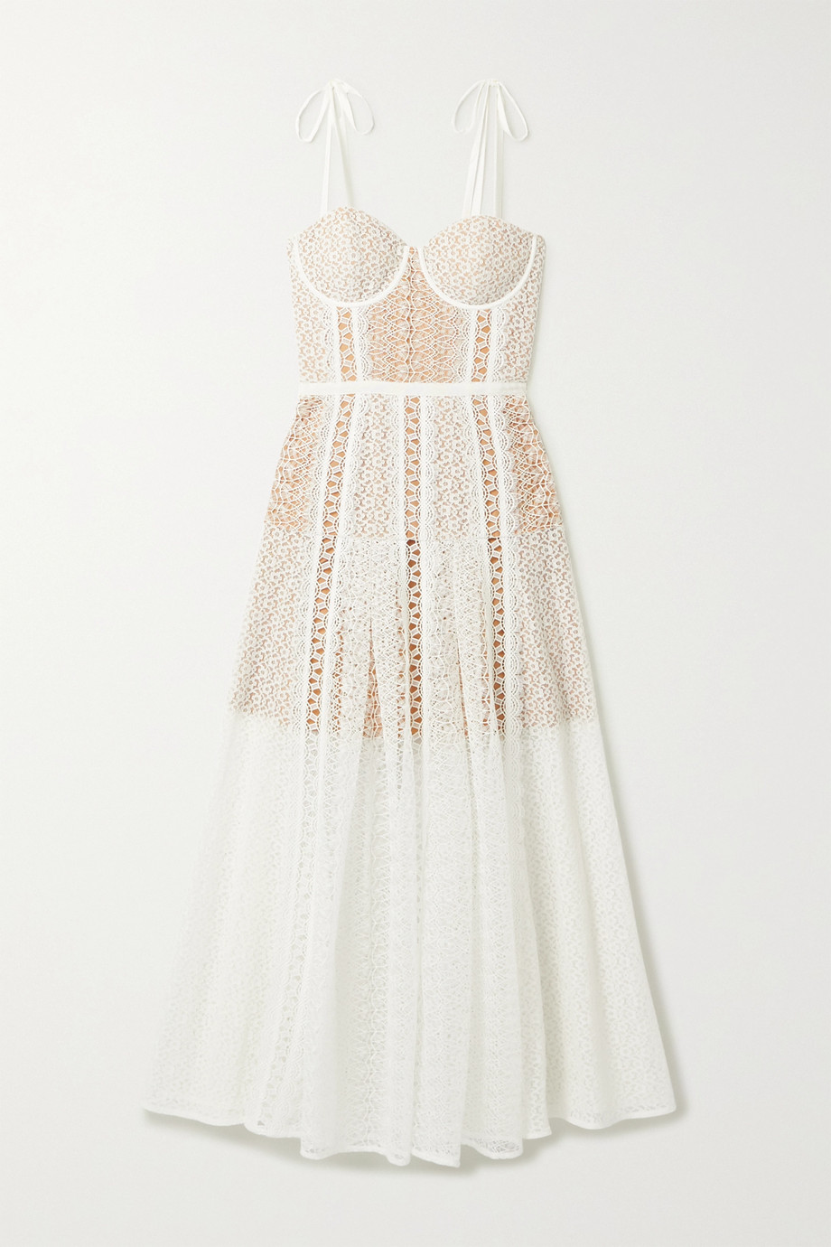 Self-Portrait Grosgrain-trimmed paneled lace midi dress