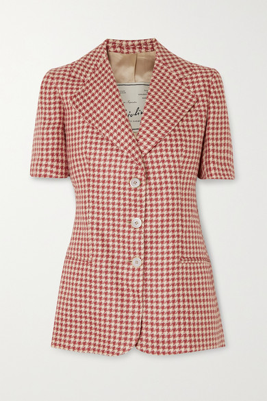 Giuliva Heritage - The Ginestra Houndstooth Linen Blazer - Red
