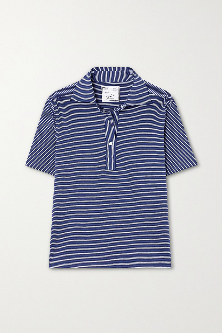 Giuliva Heritage The Daphne striped cotton-piqué polo shirt