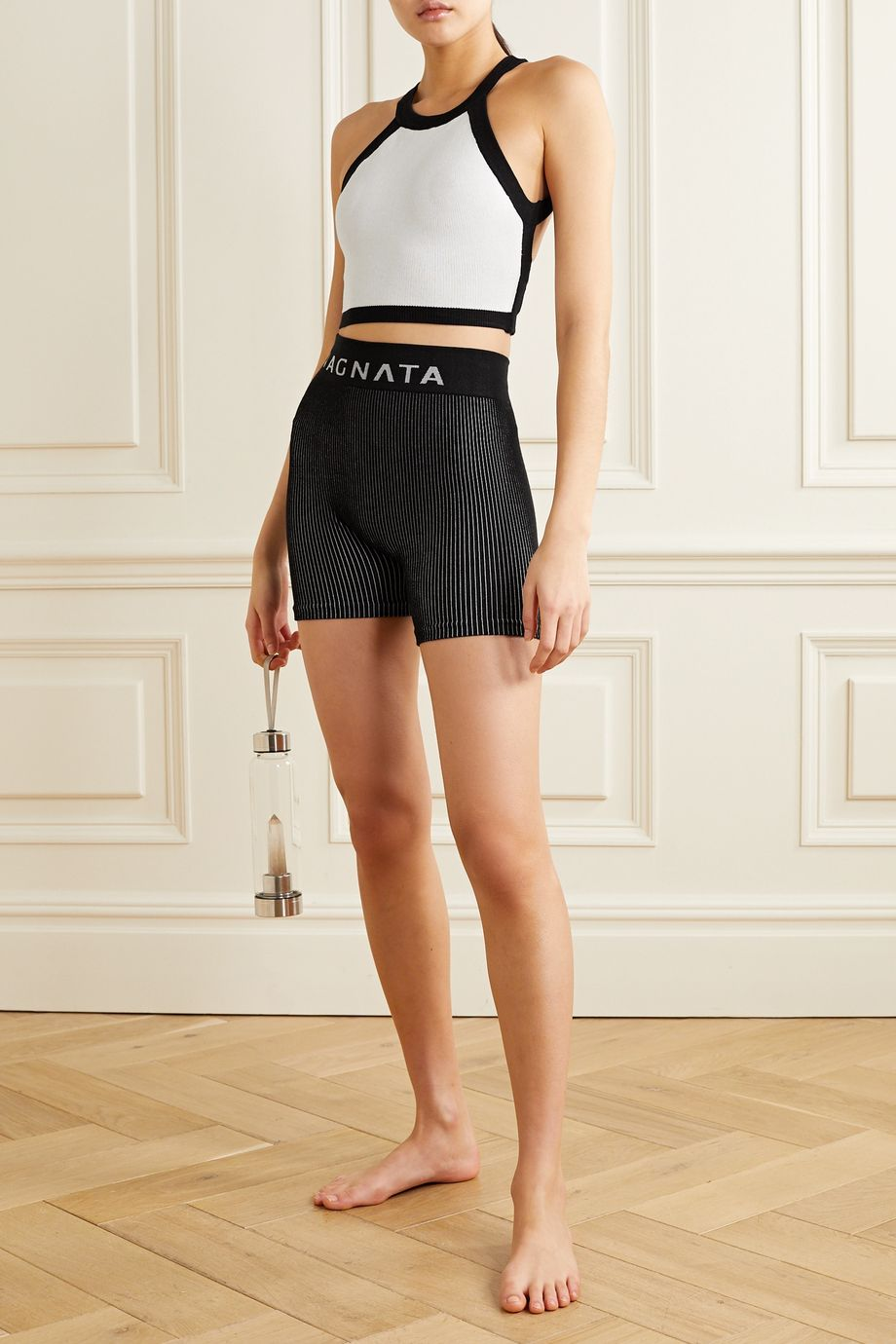 Nagnata + NET SUSTAIN cropped open-back technical stretch-organic cotton top