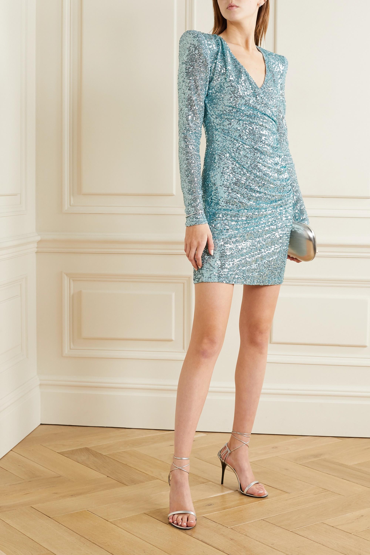 Naeem Khan Wrap-effect draped sequined tulle mini dress