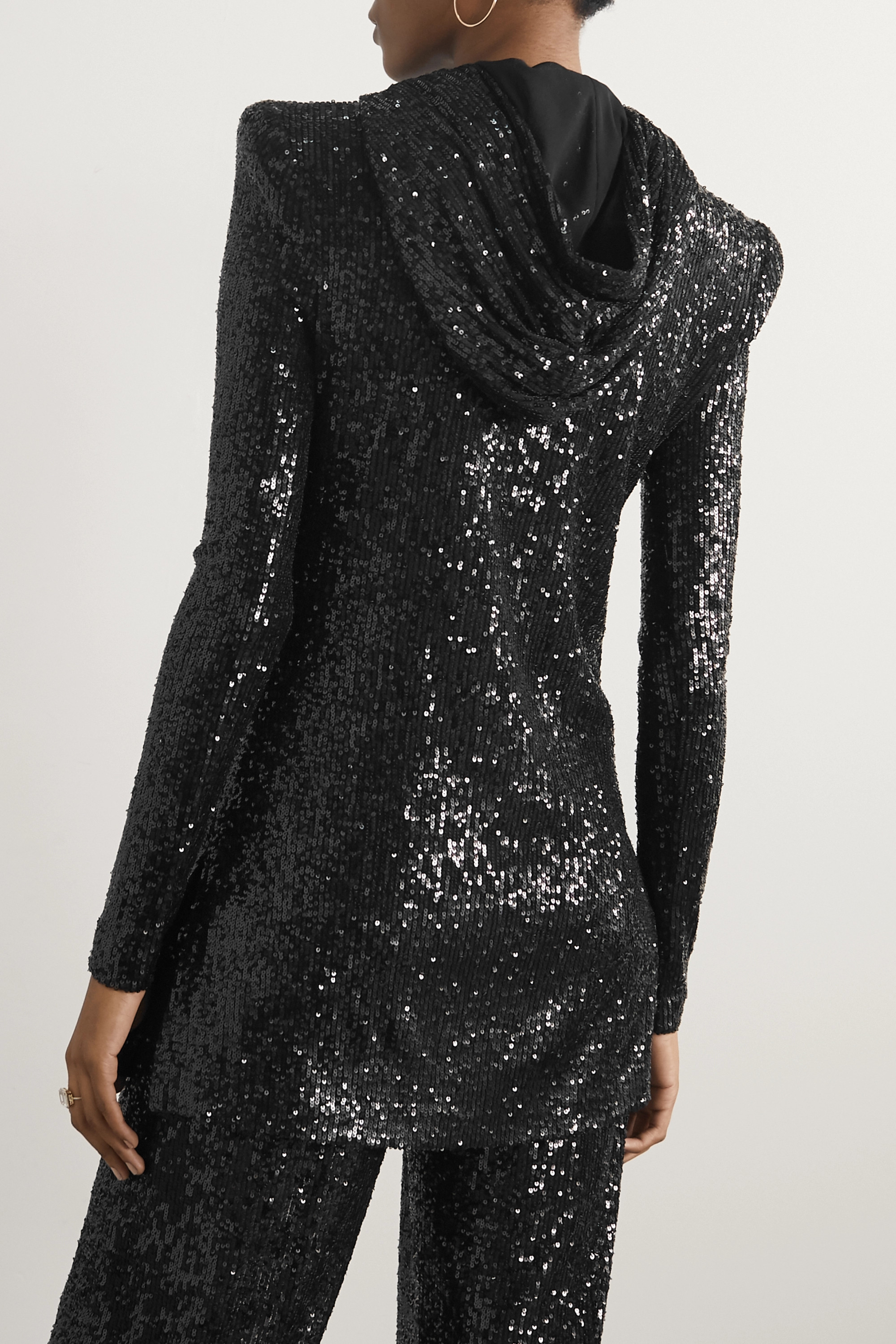 Naeem Khan Hooded sequined tulle tunic