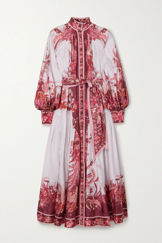Zimmermann Belted printed silk midi dress