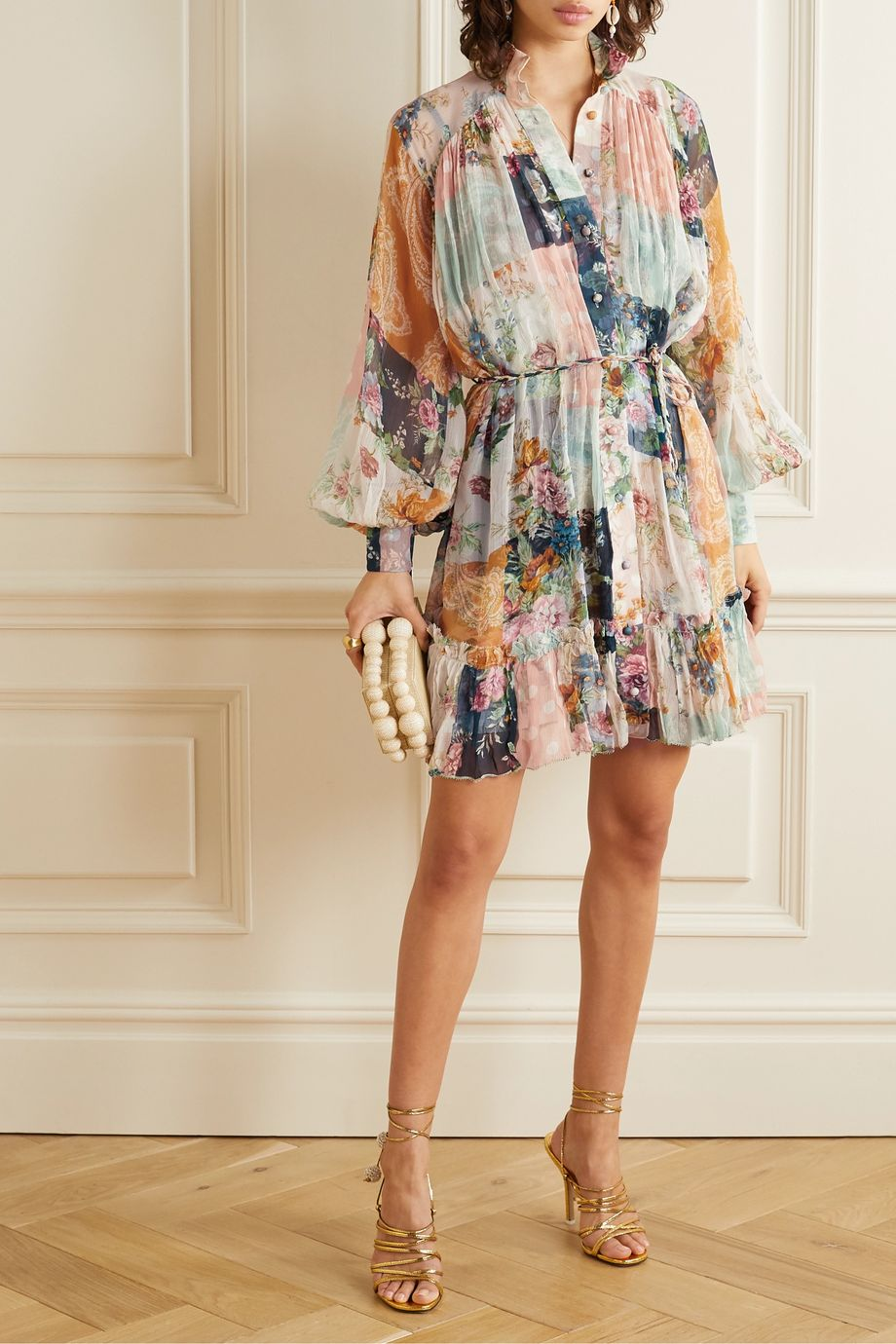 Zimmermann Wavelength printed silk-crepon mini dress