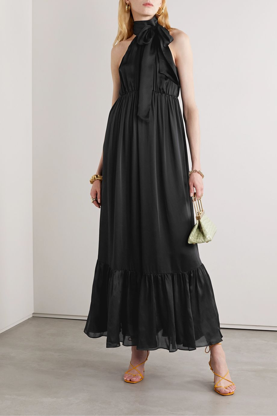 Zimmermann Gathered silk-satin halterneck maxi dress