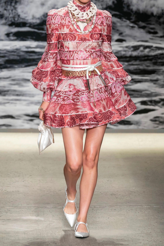 Zimmermann Wavelength paneled printed linen and silk-blend mini dress
