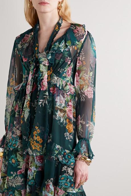 Tiered ruffled floral-print silk-chiffon midi dress