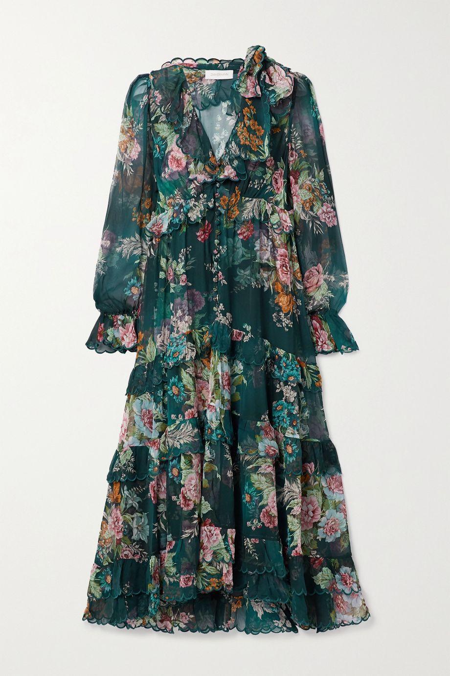 Zimmermann Robe midi en mousseline de soie à imprimé fleuri et à volants