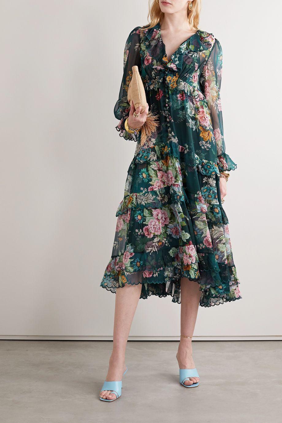 Zimmermann Tiered ruffled floral-print silk-chiffon midi dress