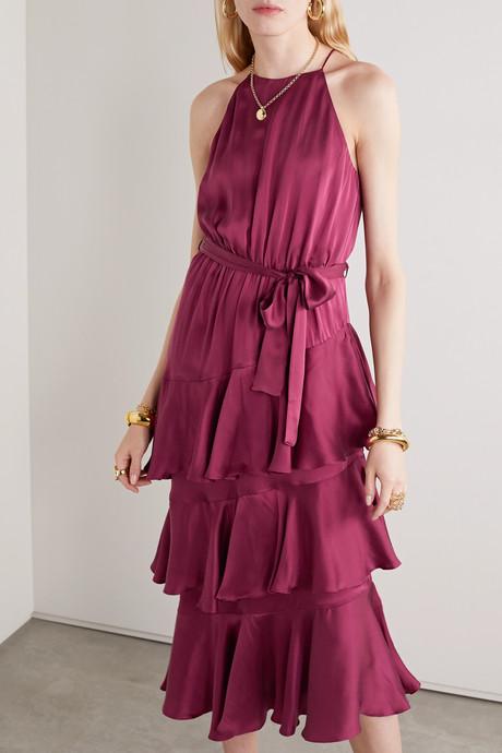 Tiered ruffled silk-satin midi dress