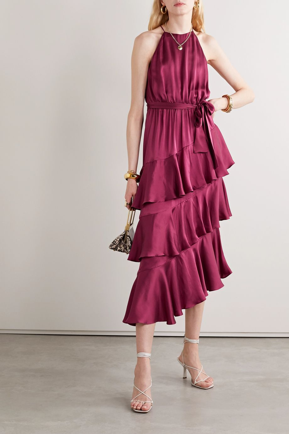Zimmermann Tiered ruffled silk-satin midi dress