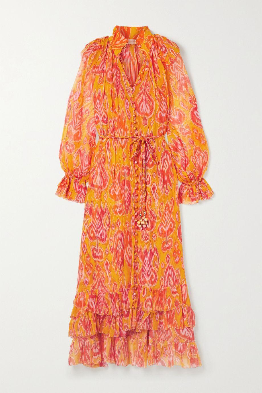 Zimmermann Brightside belted ruffled printed silk-crepon midi dress