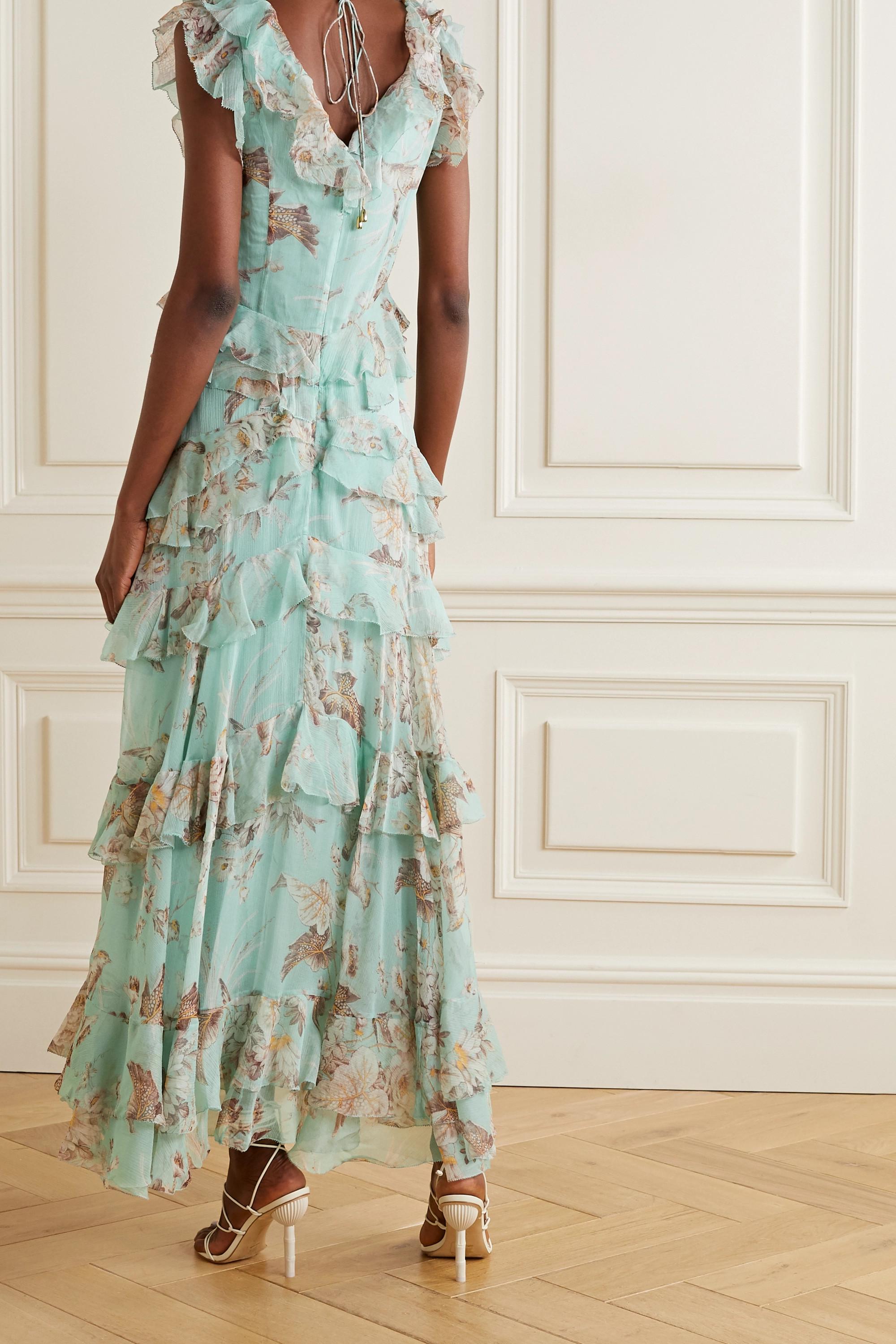 Zimmermann Glassy tiered printed silk-georgette maxi dress