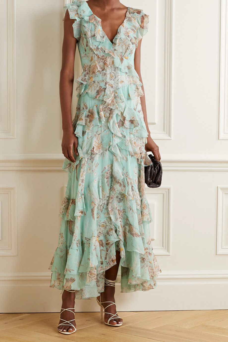 Zimmermann Glassy tiered printed silk-georgette maxi dress