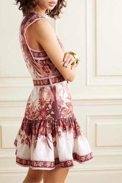 Zimmermann | Wavelength belted fluted floral print linen