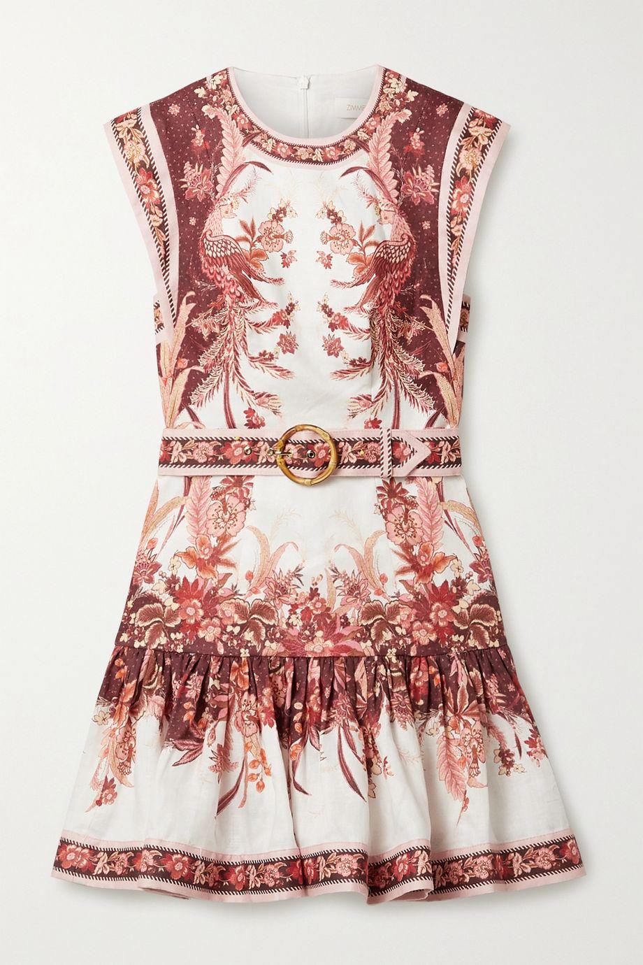 Zimmermann Mini-robe évasée en lin à imprimé fleuri et à ceinture Wavelength