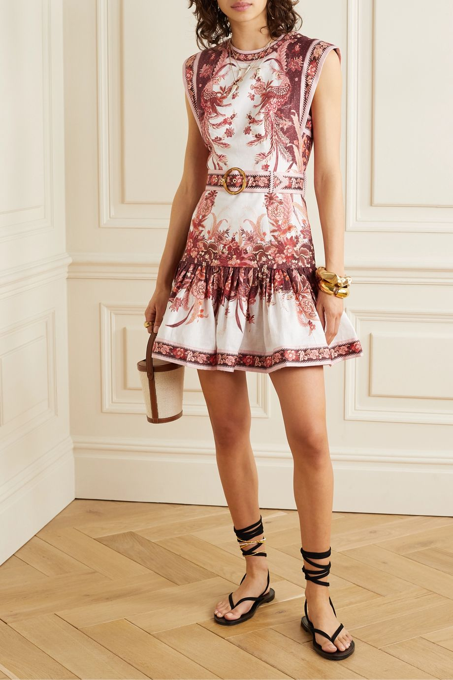 Zimmermann Wavelength belted fluted floral-print linen mini dress