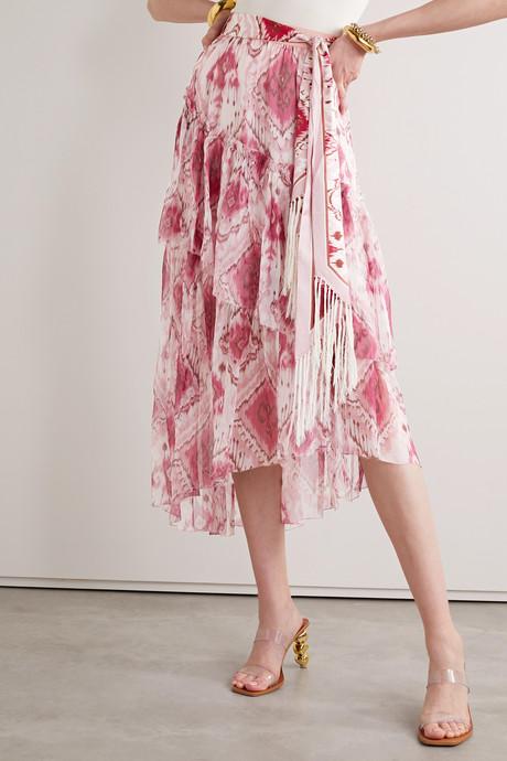 Tasseled ruffled printed silk-crepon and twill midi skirt
