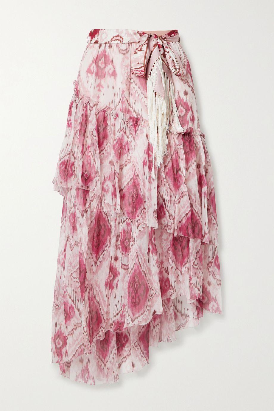 Zimmermann Tasseled ruffled printed silk-crepon and twill midi skirt